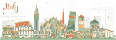 Abstract Italy Skyline with Landmarks.