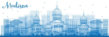 Outline Madison Skyline with Blue Buildings.