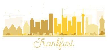 Frankfurt City skyline golden silhouette.