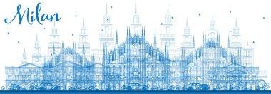 Outline Milan Skyline with Blue Landmarks.
