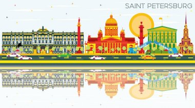 Saint Petersburg Skyline with Color Buildings, Blue Sky and Reflections. Vector Illustration. Business Travel and Tourism Concept. Image for Presentation Banner Placard and Web Site. clip art vector
