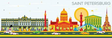 Saint Petersburg Skyline with Color Buildings and Blue Sky. Vector Illustration. Business Travel and Tourism Concept. Image for Presentation Banner Placard and Web Site. clip art vector