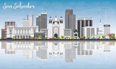San Salvador Skyline with Gray Buildings, Blue Sky and Reflectio