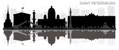 Saint Petersburg City skyline black and white silhouette with re
