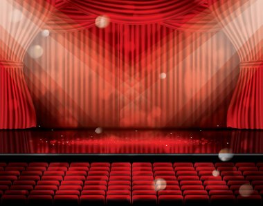 Open Red Curtains with Seats and Copy Space.