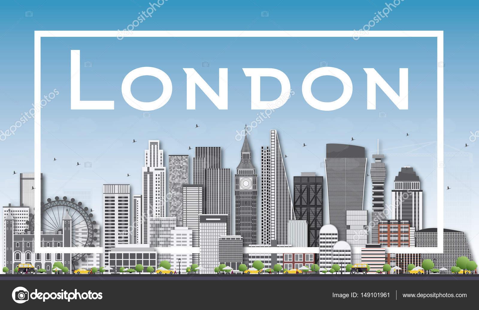 Skyline von London mit grauen Gebäuden und weißen Rahmen ...