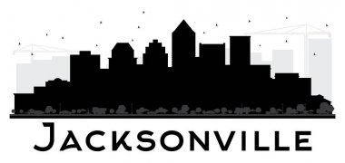Jacksonville City skyline black and white silhouette.