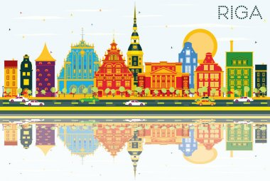 Riga Skyline with Color Buildings, Blue Sky and Reflections.