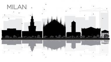 Milan City skyline black and white silhouette with reflections.