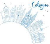 Umriss der Kölner Skyline mit blauen Gebäuden und Kopierraum.