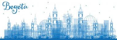 Outline Bogota Skyline with Blue Buildings.