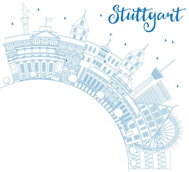 Outline Stuttgart Skyline with Blue Buildings and Copy Space.