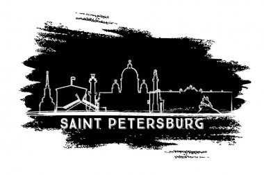 Saint Petersburg Skyline Silhouette. Hand Drawn Sketch. Vector Illustration. Business Travel and Tourism Concept with Modern Architecture. Image for Presentation Banner Placard and Web Site. clip art vector