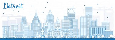 Outline Detroit Skyline with Blue Buildings.