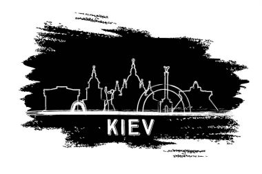 Kiev Skyline Silhouette. Hand Drawn Sketch.