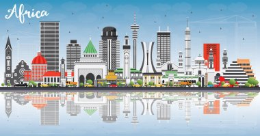 Africa Skyline with Famous Landmarks and Reflections.