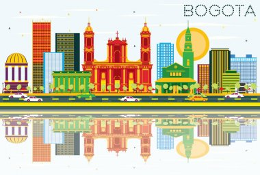 Bogota Colombia Skyline with Color Buildings, Blue Sky and Refle