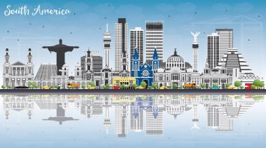 South America Skyline with Famous Landmarks and Reflections.