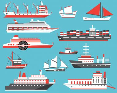 Ships Set. Passenger Cruise Ship, Yacht, Bulk Carrier and Sailbo