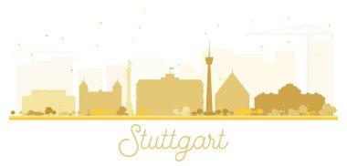 Stuttgart City skyline golden silhouette.