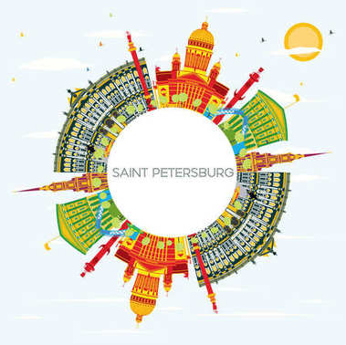 Saint Petersburg Skyline with Color Buildings, Blue Sky and Copy Space. Vector Illustration. Business Travel and Tourism Concept. Image for Presentation Banner Placard and Web Site. clip art vector
