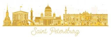 Saint Petersburg City skyline golden silhouette. Vector illustration. Business travel concept. Saint Petersburg Cityscape with landmarks clip art vector