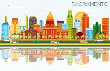 Sacramento USA Skyline with Color Buildings, Blue Sky and Reflec