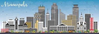 Minneapolis Minnesota USA Skyline with Color Buildings and Blue
