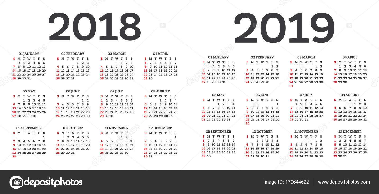 kalender 2018 2019 ge soleerd op witte achtergrond stockvector booblgum 179644622. Black Bedroom Furniture Sets. Home Design Ideas
