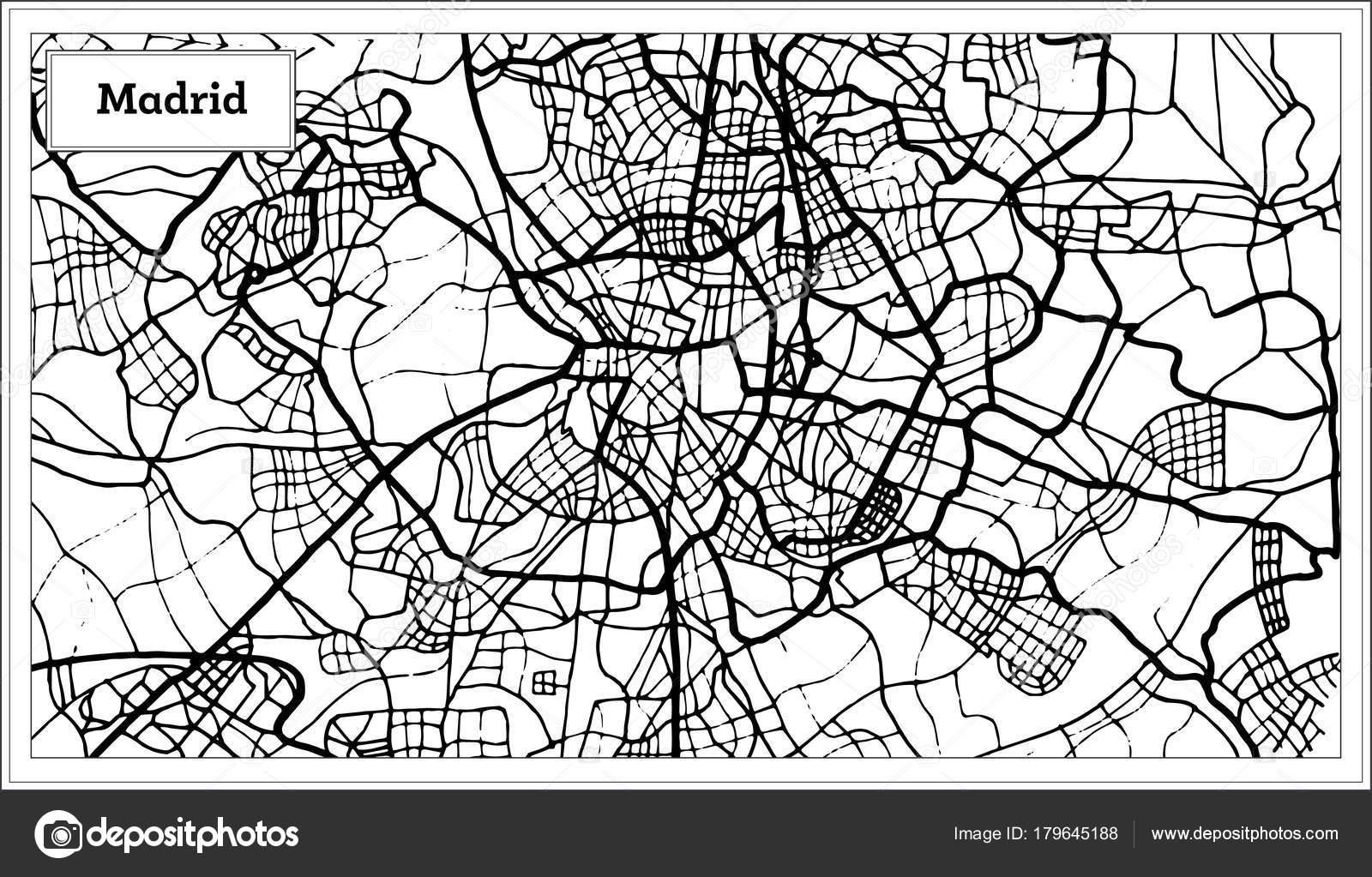 Spanien Karte Schwarz Weiß.Madrid Spanien Karte In Der Farbe Schwarz Und Weiß Stockvektor