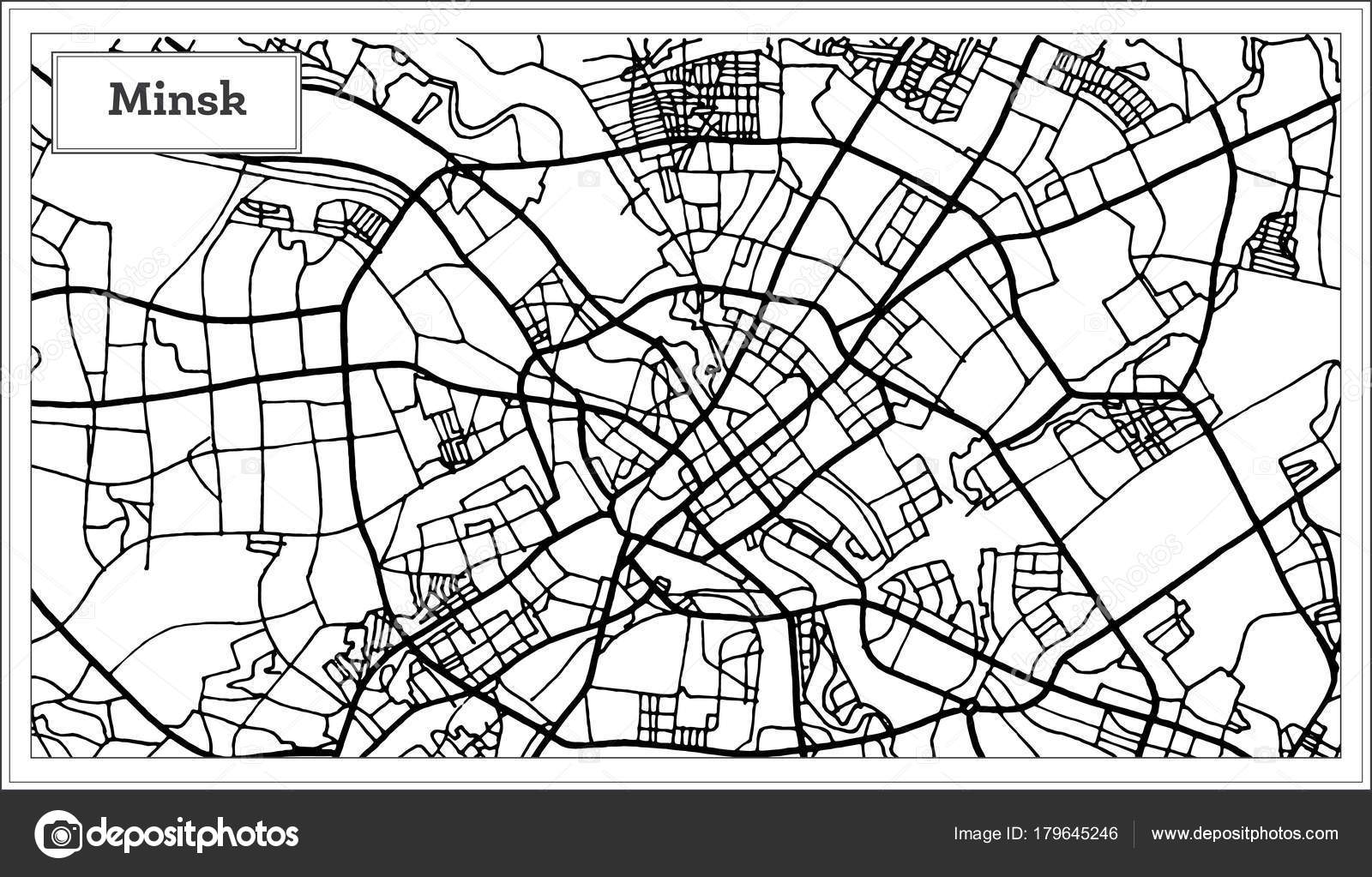 Minsk Belarus City Map In Black And White Color Stock Vector - minsk map
