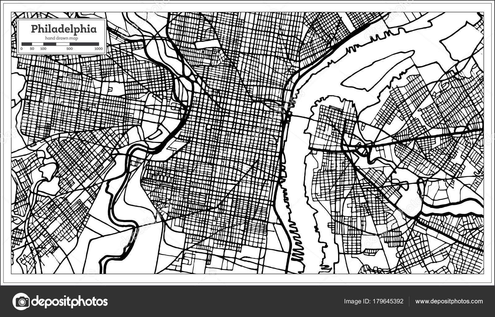 Philadelphia Pennsylvania Usa Map In Black And White Color Stock