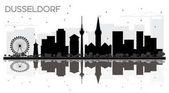 Fotografie Düsseldorf Deutschland Skyline schwarz-weiß Stadtsilhouette mit