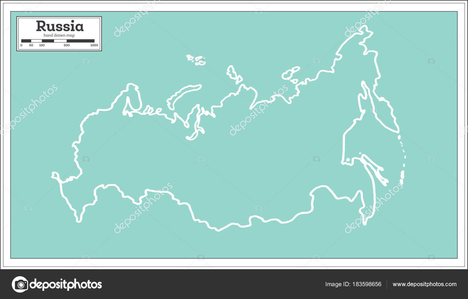 Russia Map In Retro Style Outline Map Stock Vector C Booblgum