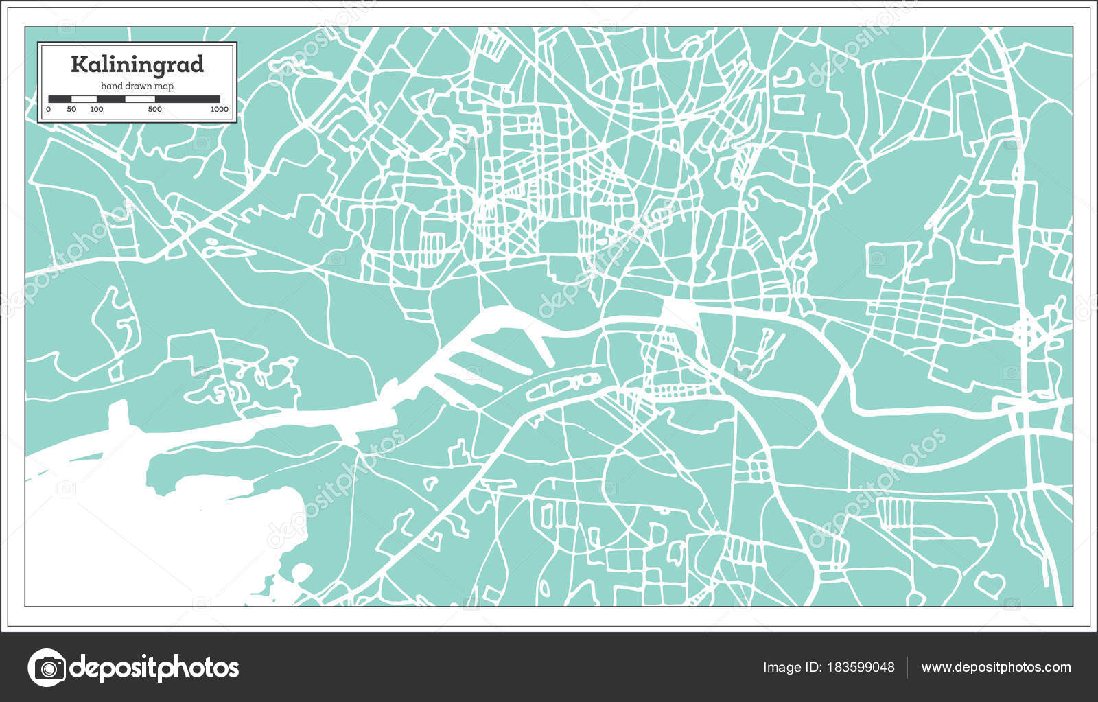 Kaliningrad Russia City Map In Retro Style Outline Map Stock