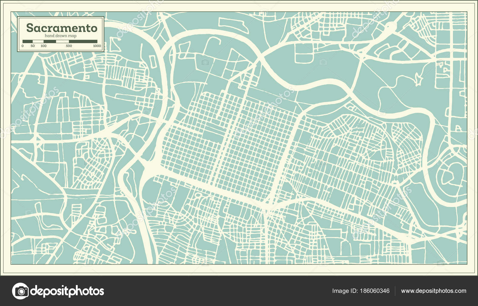 Sacramento California USA City Map in Retro Style. Outline ... on lancaster map outline, chico map outline, inglewood map outline, fullerton map outline, san francisco map outline, washington and oregon map outline, usa map outline, inyo county map outline, avalon map outline,
