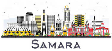 Samara Russia City Skyline with Color Buildings Isolated on Whit