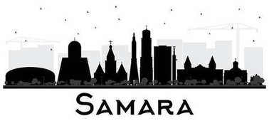 Samara Russia City Skyline Silhouette with Black Buildings Isola