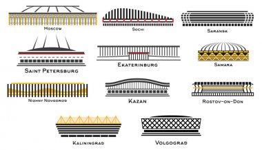 Football Stadium Set on White Background. Vector Illustration.