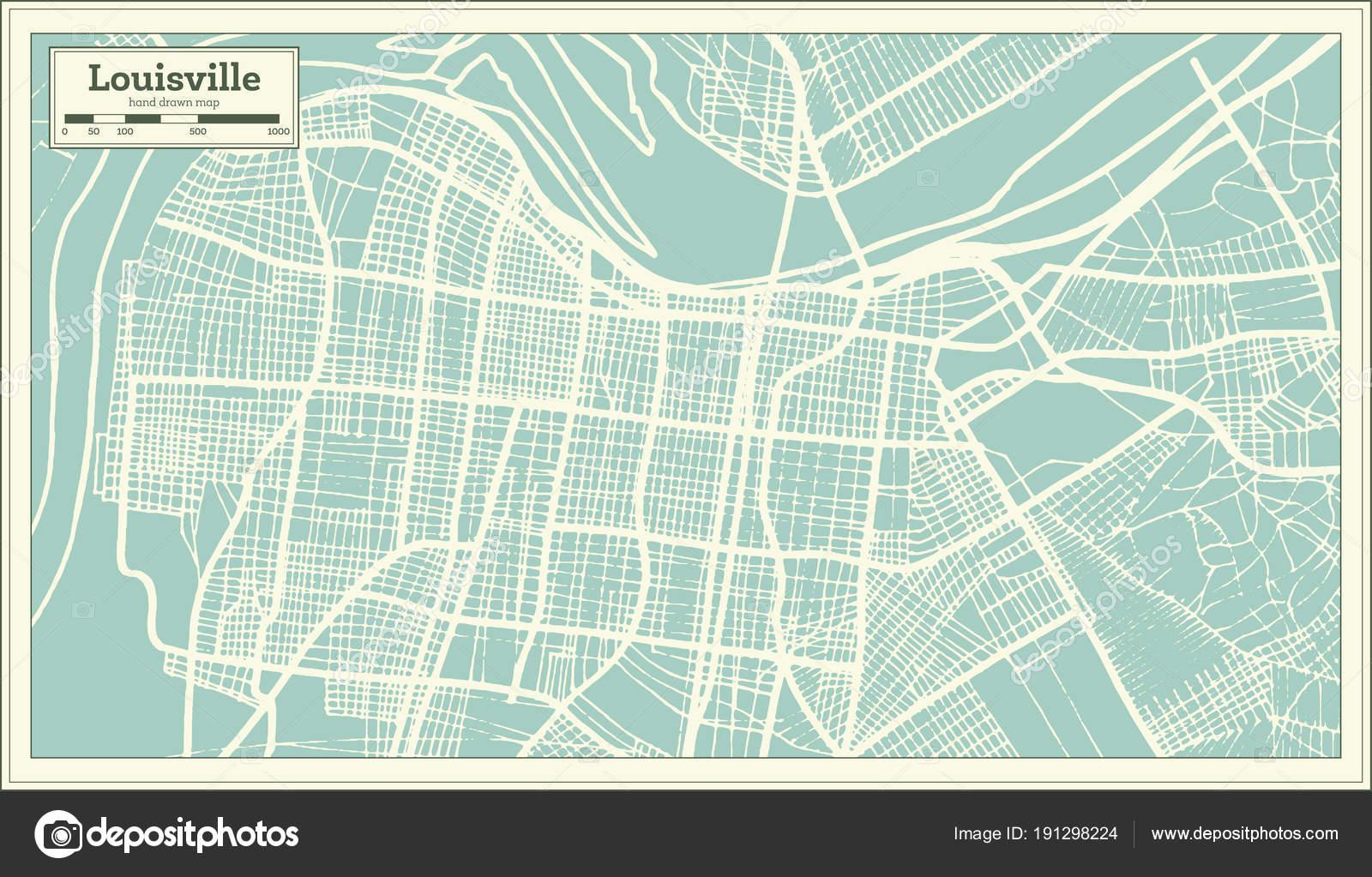 Louisville Kentucky Usa Stadtplan im Retro-Stil. Der Umriß ...