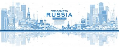 Outline Welcome to Russia Skyline with Blue Buildings.