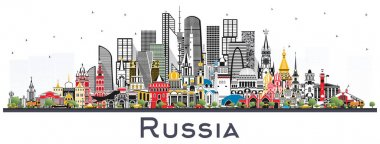 Russia City Skyline with Color Buildings Isolated on White.