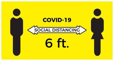 Coronavirus COVID-19 virüs sosyal mesafeleme konsepti. Birbirinizden iki metre uzakta durun. Düz simge vektör illüstrasyonu