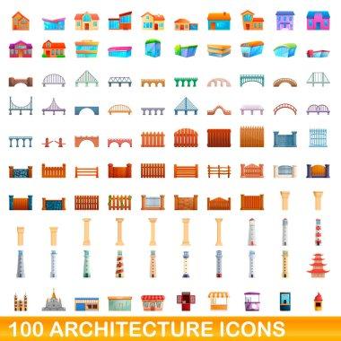 100 architecture icons set, cartoon style