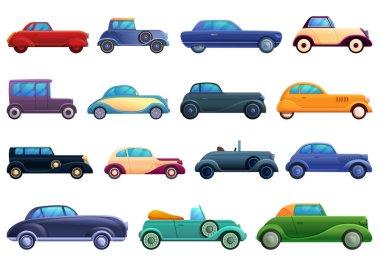 Car old icons set, cartoon style
