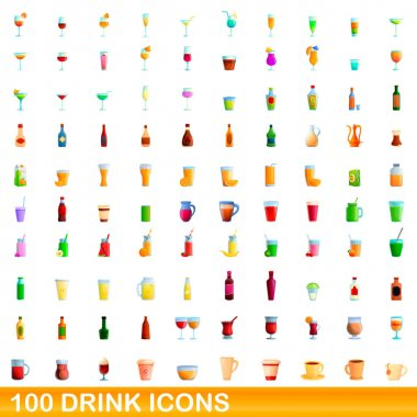 100 drink icons set. Cartoon illustration of 100 drink icons vector set isolated on white background icon