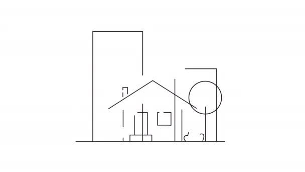 Konzept der Konstruktion flachen Stil Haus, isoliert auf weißem Hintergrund. Schöne große Gebäude auf dem Hintergrund erscheinen. Neues Zuhause, Umzug, Immobilien und Umzugskonzept. Flache Karikatur