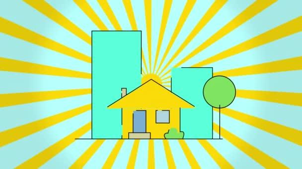 Koncepciója építési lapos stílusú ház és forgó nap, elszigetelt kék háttérrel. Gyönyörű nagy épület jelenik meg a háttérben. Új otthon, költözés, ingatlan és költözés. Lapos