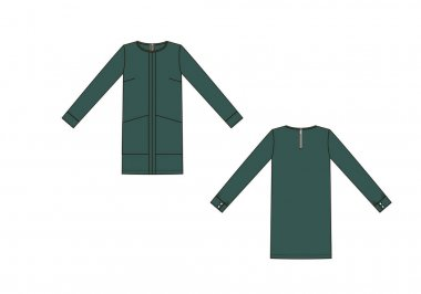 Fashion color technical sketch of dress in vector graphic