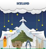 Island cestování pozadí mezník globální cestování a cesta souboru Inf